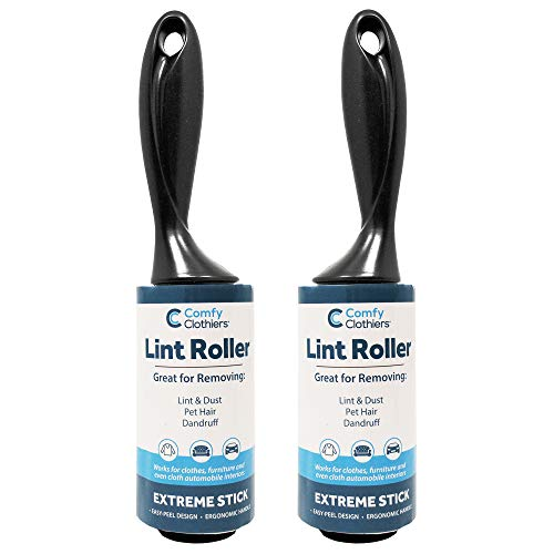 Extra Sticky Lint Rollers for Clothes, Dust & Lint - 190 Sheets Total (2 Rolls/95 Sheets Per Roll) 2 Handles - Lint Rollers for Pet Hair Combo by Comfy Clothiers