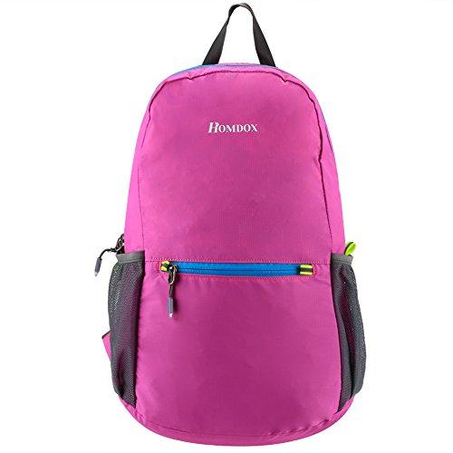 Homdox Faltbarer Rucksack Leicht Casual Outdoor Sports für Reise oder Kampagne 43x 32x 12cm, Rosa