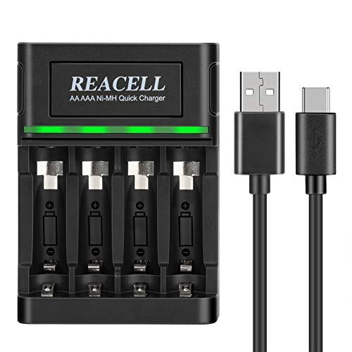 REACELL Akku-Ladegerät für NiMH AA AAA Akkus Batterieladegerät Wiederaufladbare Batterien, 1-Stunden Schnell Batterie Ladegerät mit 2 USB-Eingangsanschlüssen, automatische Abschaltung&Erhaltungsladung