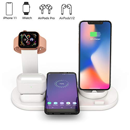 Station Voor Draadloze Oplader,4 in 1 Qi Fast Wireless Charging Dock Compatibel met Samsung iPhone,Draadloze Oplader Compatibel met AirPods Pro Watch iWatch 1 2 3 4 38 mm 40 mm 42 mm 44 mm (Wit)