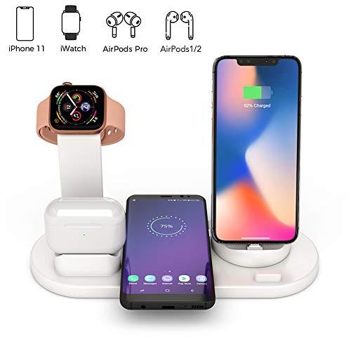 4 in 1 Ladestation Kompatibel mit iPhone und AirPods, Ständer für Watch,Pencil Halter(Nicht Lieferumfang Watch Ladegeräts) Qi Fast Wireless Charging Stand Kompatibel iPhone (Weiß)
