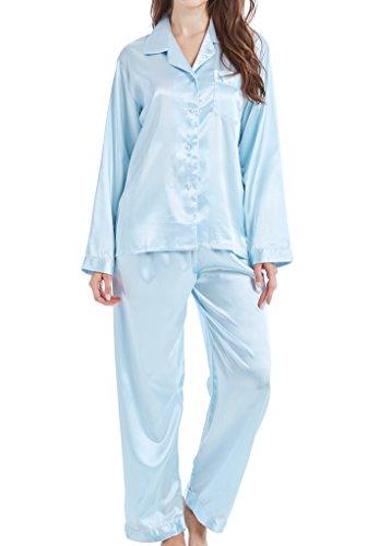 Damen Schlafanzug Pyjama Satin Lang Nachtwäsche Set Klassische Loungewear (Hellblau, L)