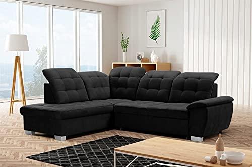 Sofá esquinero Lotta en forma de L, función de cama, cama con muelles ondulados, izquierda/derecha, reposacabezas ajustables (izquierda, jazmín 100 – Negro)