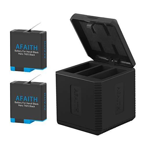 AFAITH Cargador de batería para Gopro, Base de Carga Triple con 2 baterías de reemplazo, Caja de Carga múltiple Tipo-C Organizador de Almacenamiento de batería para GoPro Hero 8/7/6/5 Black,Hero 2018