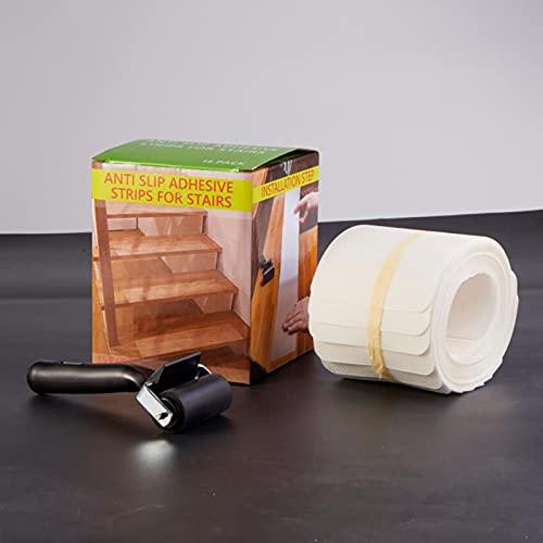 YANJJ Cinta Antideslizante para peldaños de escaleras, 10 * 60 cm (15 Juegos) Alfombrilla autoadhesiva para escaleras y Tiras Antideslizantes para Pisos Transparent