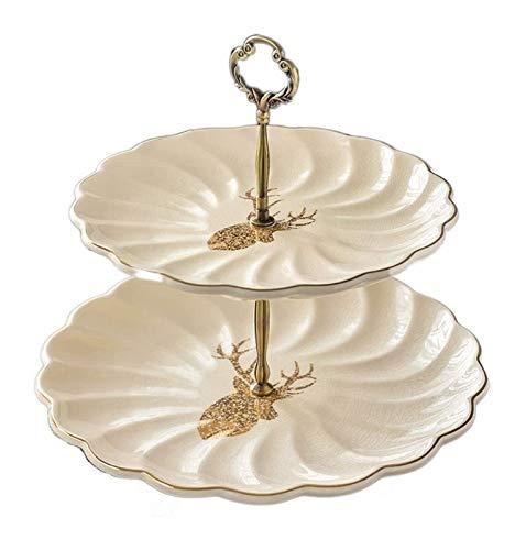 DIBAO Tarde té partido pastel soporte doble capa placa de fruta estilo americano europeo sala de estar cerámica fruta plato pastel soporte postre plato