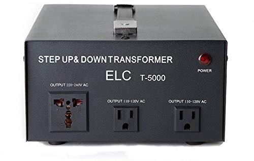 ELC T-5000+ 5000-Watt Voltage Converter Transformer - Step Up/Down - 110V/220V - Circuit Breaker Protection Heavy Duty [3-Years Warranty]