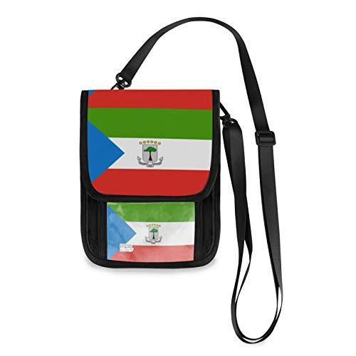 Bandera de Guinea Ecuatorial RFID bloqueo de pequeñas bolsas Crossbody cartera de teléfono celular con ranuras para tarjetas de crédito