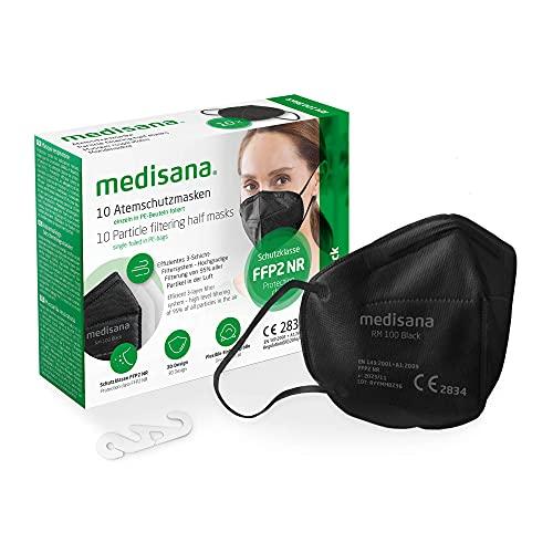 Medisana FFP2 Atemschutzmaske Schwarz/Black Staubmaske Atemmaske RM 100, Staubschutzmaske Mundschutzmaske 10 Stück einzelverpackt im PE-Beutel mit Clip - zertifiziert CE2834 - EU 2016/425