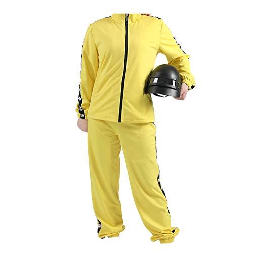 Lilongjiao Cosplay-Kostüm for PUBG Playerunknown der Schlachtfelder Gelb Sport-Mantel-DREI-Pol-Helm (Size : S)