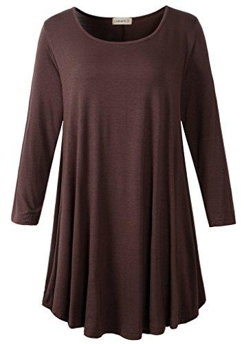 LARACE Women 3/4 Sleeve Tunic Top Loose Fit Flare T-Shirt(M, Coffee)