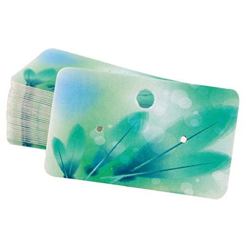 100er Pack Ohrring Display Schmuckkarten Ohrgehänge Ohrstecker Hängen Karten aus Papier Ohrringkarten - Grüne Feder
