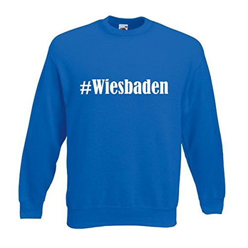 Reifen-Markt Sweatshirt Damen #Wiesbaden Größe S Farbe Blau Druck Weiss