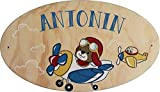 Plaque de Porte en bois personnalisée pour une Chambre d'enfant Avion Pilote - Le...