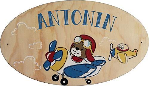 Plaque de Porte en bois personnalisée pour une Chambre d'enfant Avion Pilote - Le prénom de la plaque en bois est personnalisable - cadeau de naissance personnalisé bébé Décoration
