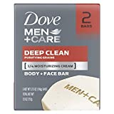 Dove Men+Care Deep Clean Body and Face Bar thoroughly cleanses and hydrates for healthier, stronger skin versus regular soap 1 Dermatologist Recommended Thoroughly cleans skin without leaving it feel dry or tight Patented design with unique technolog...