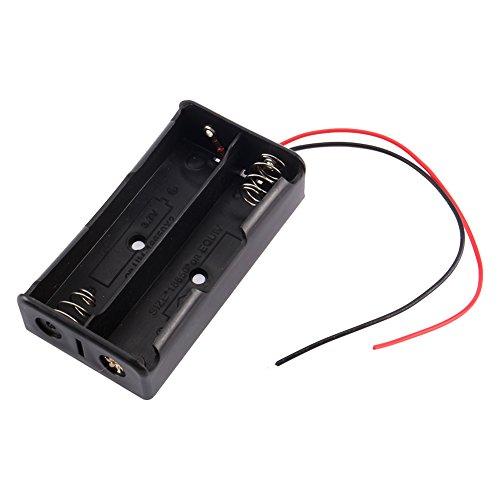 3,7 V 18650 Batteriehalter, 2 Abschnitte wiederaufladbare Batteriehalter Kunststoffkoffer Aufbewahrungsbox mit Drahtleitungen