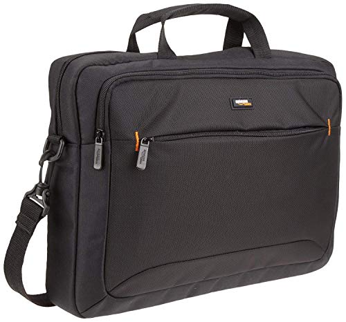 AmazonBasics Compact Laptop Shoulder Bag Carrying case with Accessory Storage Pockets (15.6 inch - 40 cm), Black, 1-Pack