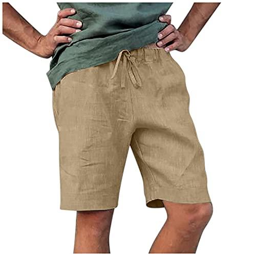 QiFei Katoenen en linnen shorts voor heren, korte broek met 4 zakken, bermudabroek, zomer, linnen shorts, casual, pure kleur, outdoortas, strand, werkbroek, cargoshorts