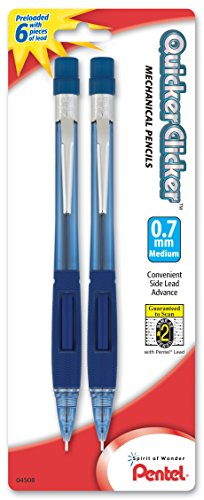 Pentel Quicker Clicker Automatic Pencil, 0.7mm, Transparent Blue Barrel, 2 Pack (PD347BP2-K6)