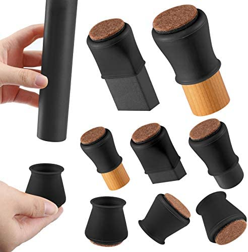Black Silicone Chair Leg Floor Protectors with Felt Chair Leg Caps Silicon Furniture Leg Feet product image
