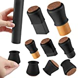 Black Silicone Chair Leg Floor Protectors with Felt, Chair Leg Caps, Silicon Furniture Leg Feet Protection Cover Protect Hardwood Floor Anti Scratch 16 Pcs (Small Fit: 0.8' - 1.2', Black)