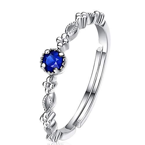 Anillo de zafiro abierto ajustable en plata de ley, anillo de dedo índice,...