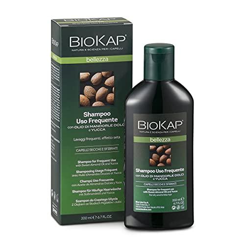 BIO KAP Shampoo Uso Frequente, Shampoo idratante con Olio di Mandorle Dolci e Yucca per lavaggi frequenti, Adatto a tutti i tipi di capello, Rende i capelli luminosi, 200 ml