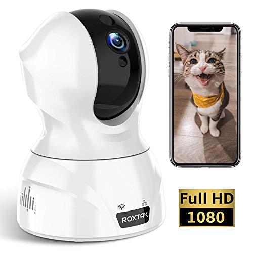 ROXTAK Cámaras de Vigilancias, 1080P Cámara IP Inalámbrica con 360º Vista Panoramica, HD Visión Nocturna, Detección de Movimiento, Monitor para Bebés/Ancianos/Mascotas/Prevención de Robos