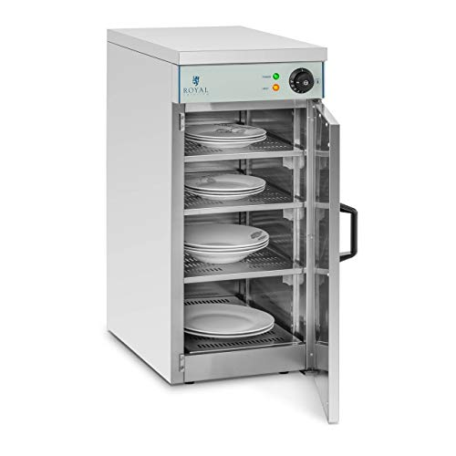 Royal Catering Chauffe-Assiettes Armoire Chauffante pour 120 Assiettes RCWS-30 (53x35x76,5cm, 800W, ø assiettes 29 cm, 30°C jusqu'à 110°C, 3 niveaux intermédiaires réglables)