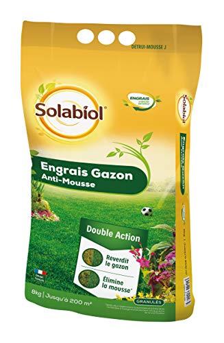 Solabiol SOGAZMOU200 Engrais Anti 8 Kg | Double Action : reverdit Le Gazon et élimine la Mousse, Puissant
