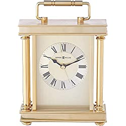 Howard Miller Audra Table Clock 645-584 – Brass Carriage Clock with Quartz Alarm Movement