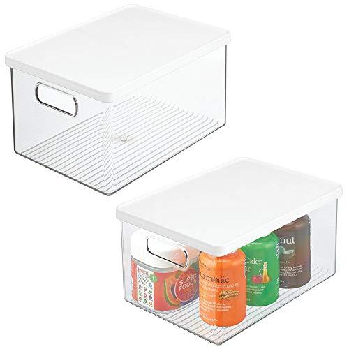 mDesign 2er-Set Badezimmer Organizer – praktische Aufbewahrungsbox aus Kunststoff mit Deckel – stapelbare Bad Box zur Aufbewahrung von Shampoo, Duschgel, Lotionen & Co. – durchsichtig/weiß