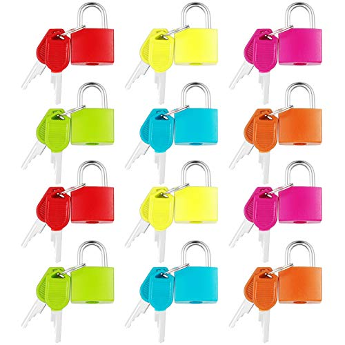 umorismo 12 Pcs Suitcase Locks with Keys Luggage Locks Small Multicolor Padlocks Travel Luggage Bag Suitcase Padlock (6 Colors)