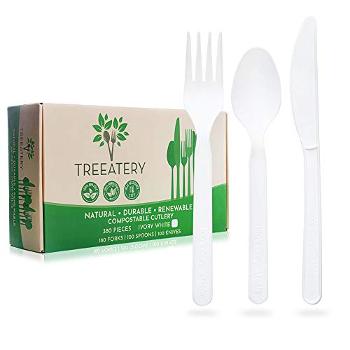 TREEATERY 100% Compostable Cutlery Set 380 Pack  Plant A Tree With Every Box  Eco Friendly Utensils Disposable Silverware Box  Large Durable Heat Resistant Compostable Utensils in Convenient Tray