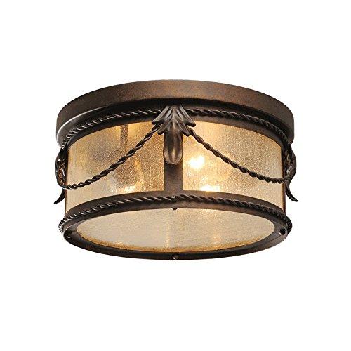 Chiaro 397011503 Kompakte Deckenleuchte Rund Antik Messing Schmiedeeisen Antike Bronze Glas Landhausstil 3 Flammig E27 3 x 60W 230V