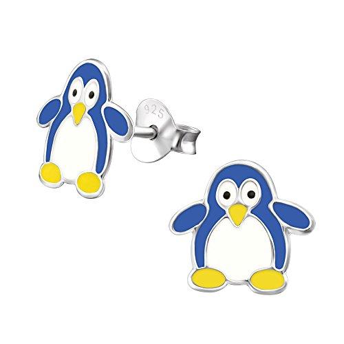Laimons meisjes kinderen oorstekers oorbellen kindersieraden pinguïn vogel zeevogel blauw wit van sterling zilver 925
