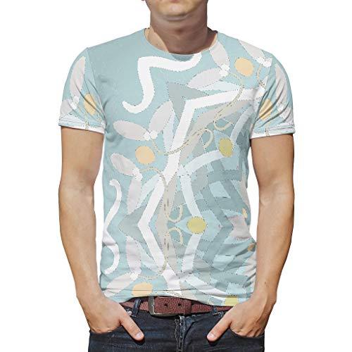 O3XEQ-8 Mann Herren Boho T Shirt Teenie Shirt, Grüne Mandela Freizeit Sommer - Mandela Art Drucken Hip Hop Kurzarmhemd White l