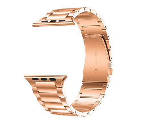GELISHI Compatible with Apple Watch Band 42mm 44mm,Business Stainless Steel Metal Link Bracelet Bands Compatible for Apple Watch Series 5/4/3/2 - Rose Gold