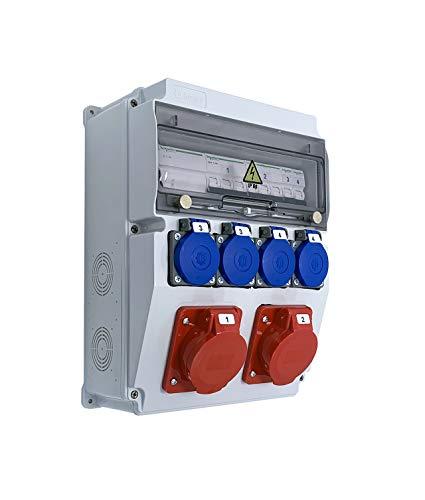 Caja de obras monofásica/trifásica equipada con ASTAT 297 Plus, IP65 2x16A/5P, 4x230 V SCHUKO IP44, disyuntores Schneider