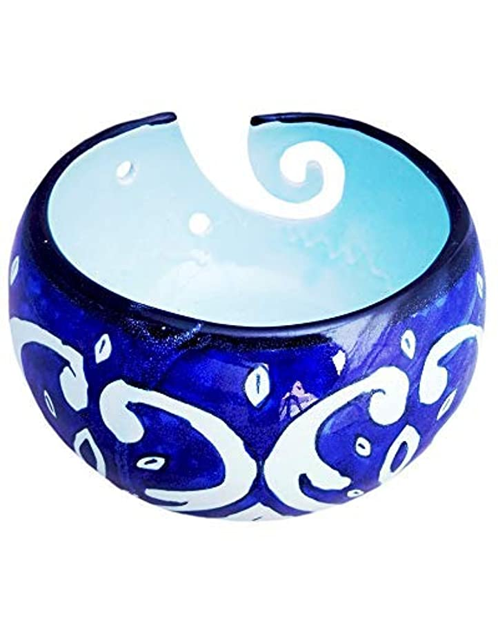Javi 7x7x4.1 Inch Ceramic Yarn Bowl Blue Color - Handmade Knitting and Crocheting Storage-Holder with Swirl Handcrafted Design Gift for Knitters