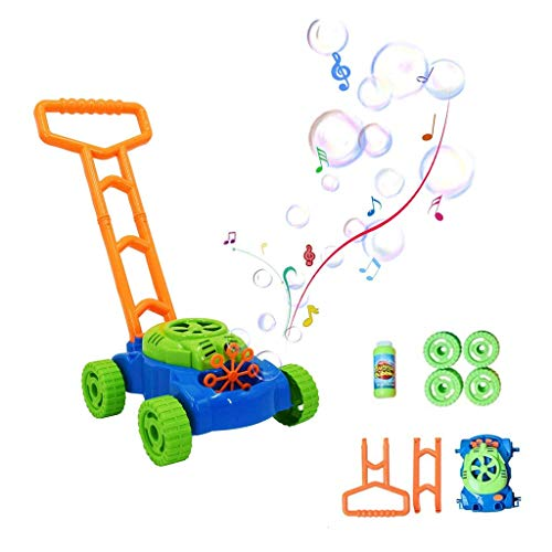 Sixpi Bubble Lawn Mower - Electronic Bubble Blower Machine - Fun Bubbles Blowing Push Toys for Kids - Bubble Solution Included - Best Birthday Gift for Boys, Girls, Toddlers