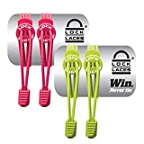 LOCK LACES Elastic No Tie Shoe Laces (Pack of 2) One Size Fits All (Pink-Green)