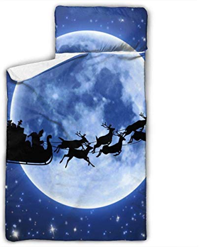 Christmas Night Full Moon Blue Night Stars Kids Toddler Nap Mat with Pillow - Includes Pillow & Fleece Blanket for Boys and Girls Napping at Daycare, Preschool, Or Kindergarten