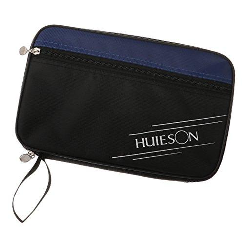 Magideal raqueta de tenis de mesa funda pingpong Paddle bolsa con cremallera, azul y negro