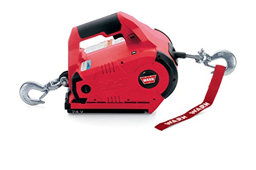 WARN 885005 PullzAll Cordless 24V DC Portable Electric Winch with Steel Cable and 2 Rechargeable Battery Packs: 1/2 Ton (1,000 lb) Pulling Capacity, red