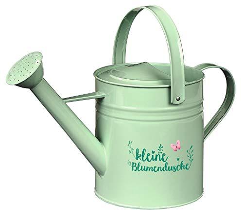 Gieter voor de tuin | in blad & bloem design | kleine decoratieve bloemendouche | groen met tekst