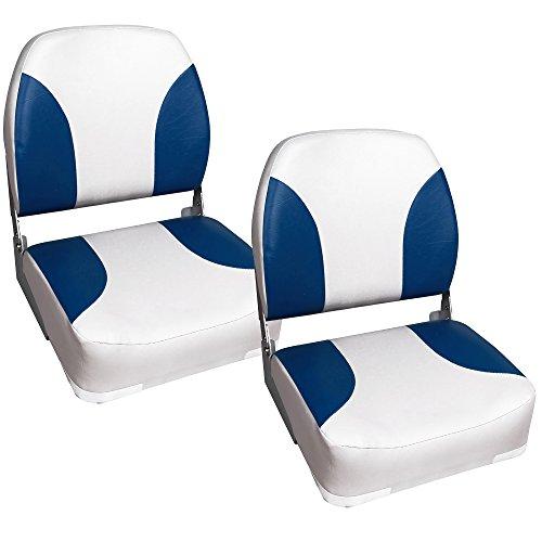 [pro.tec] 2x Bootssitze (blau-weiss) - aus wasserfestem Kunstleder / wasserfest / gepolstert / Kapitänsstuhl / Angelsitz / UV- beständig
