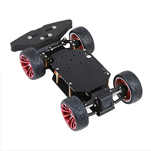 FWL Smart Steering Roboter-Auto-Chassis-Kit für Arduino, mit Metall-Servo-Lager-Kit Hinterraddifferential, Roboterplattform DIY Kit Roboterauto
