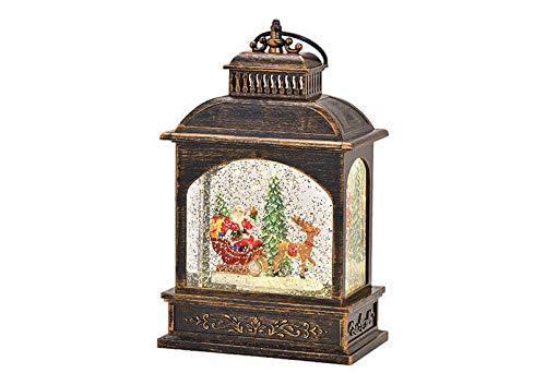 Latene Nikolausschlitten mit Beleuchtung Glitzer Wirbel aus Kunststoff, Poly Braun (B/H/T) 13x21x7cm